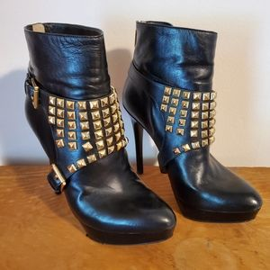 Micheal Kors ankle bootie with gold studs